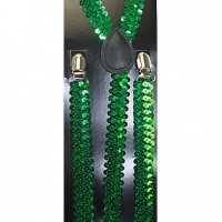 SEQUIN KELLY GREEN SUSPENDERS