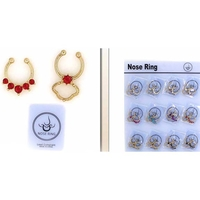 NOSE SEPTUM RINGS GOLD COLOR, COLOR GEMS