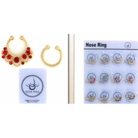ALL GOLD NOSE CLIPS WITH GEMS