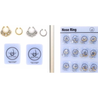 GOLD AND SILVER WITH CLEAR GEMS NOSE CLIPS
