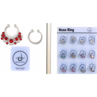 SILVER NOSE CLIPS WITH GEMS