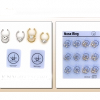 GOLD AND SILVER NOSE CLIPS WITH CLEAR GEMS