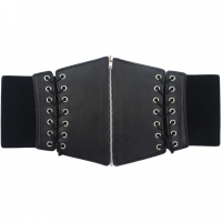 BLACK ONLY CORSET STYLE BELT, 11 INCHES WIDE