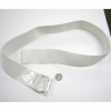 WHITE STRETCH BELT, SILVER METAL LOOPS, LIMITED STOCK