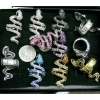 SNAKE RING IN ASSORTED COLORS AND GEMS, HIGH QUALITY