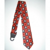 SKULLS W/ CROSSBONES & STARS, BLACK & RED CHECKERBOARD NECKTIE