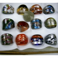 GLASS RINGS ASSORTED COOL DESIGNS