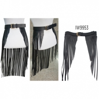 LONG FRINGE SKIRT WITH LARGE FRONT OPENING