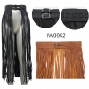 LONG FRINGE SKIRT, DOUBLE BUCKLE, FRONT STRAIGHT OPENING
