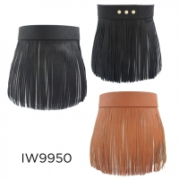 FRINGE SHORT SKIRT IN BLACK AND CARMEL COLOR