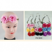 2 FLOWER HEADBAND, ASSORTED COLORS