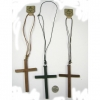 WOOD CROSS NECKLACE ON ADJUSTABLE CORD