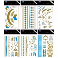 TATTOOS, 6 DIFFERENT DESIGNS, GOLD & SILVER, SOME COLOR