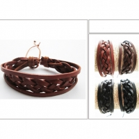 LEATHER CORD STRAP AND TWISTED HIPPY BRACELET