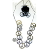 MULTIPLE PEACE SIGNS ON A  NECKLACE WITH EARRINGS SET