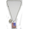 DOG TAG STYLE AMERICAN FLAG NECKLACE ON A BALL CHAIN