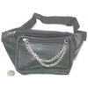 SILVER DOUBLE CHAIN, FAUX LEATHER BLACK FANNY BAG