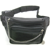 SILVER CHAIN FRONT BLACK FAUX LEATHER FANNY BAG