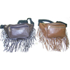FRINGE FANNY BAG IN 2 SHADES OF BROWN, FAUX LEATHER