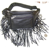 BLACK FRINGE FANNY BAG, FAUX LEATHER, 2 ZIPPERS