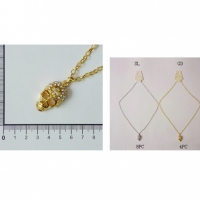 SKULL NECKLACE, 1 DZ LEFT GOLD AND SILVER