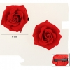 2 RED ROSES ON A CARD HAIR CLIP 6 CM DIAMETER