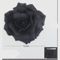 BLACK ROSE FLOWER HAIR CLIP  4 3/4 INCH DIAM.
