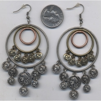 3 HOOPS AND COINS IN 3 ANTIQUE METAL COLORS