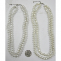 2 LINE PLASTIC PEARL NECKLACE IN WHITE AND CREAM COLOR