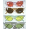 CAT SHAPE SUNGLASSES W/ POINTY SILVER GLITTER TIPS & COLOR LENS