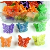 MINI BUTTERFLY HAIR CLIPS, IN BRIGHT COLORS, SILVER GLITTER