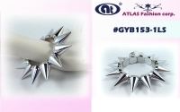 SPIKE STRETCH 1 ROW LARGE SILVER SPIKES BRACELETS