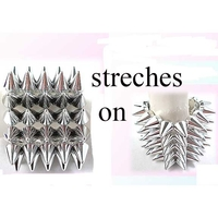 "SPIKE BRACELETS 5 ROWS, SHINY SILVER, STRETCHES ON, 2.5"" wide"