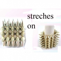 SPIKE BRACELETS, ALL GOLD, STRETCHES ON, 5 ROWS