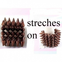 SPIKE BRACELETS 5 ROWS, STRETCHES ON COPPER COLOR