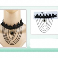 BLACK CHOKER NECKLACE WITH CHAINS AND A PENDENT