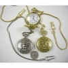 SKULL AND CROSSBONES POCKET WATCH GOLD/SILVER