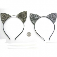 CAT EARS BLACK W/ GOLD OR SILVER  FINDINGS