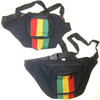 BLACK BASE, RASTA COLOR STRIPES FANNY BAGS, (GUATEMALA)