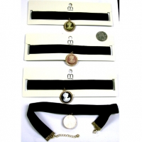 BLACK VELVET CHOKER WITH CAMEO DROP