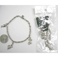 3 CHARM METAL SILVER BRACELET, 10 DZ OR MORE $2/DZ