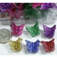 BRIGHT GLITTER MINI BUTTERFLY HAIR CLIPS, 4 DZ/UNIT- $2/DZ