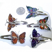 BUTTERFLY METAL HAIR CLIPS, ASSORTED NICE COLORS