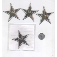 STAR SHAPE PATCH, CAMO LOOK,  LOVE, STAR, ROCK, SEXY WORD