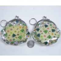 COIN PURSE/KEY CHAIN WITH FROGS & DRAGONFLIES & STAR BURSTS