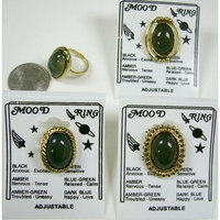 MOOD RINGS, 4 DIFFERENT STYLES, ALL GOLD COLOR, COMES CARDED