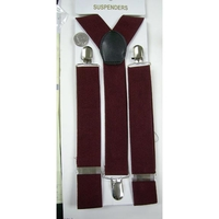 MAROON COLOR WIDE, 1.3/8 INCH WIDE SUSPENDERS