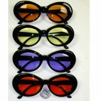 JACKIE O STYLE BLACK FRAMES, COLOR LENSES SUNGLASSES