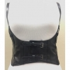 BLACK LEATHER CORSET W/  SHOULDER STRAPS, ADJUSTABLE