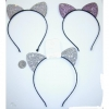 CAT EARS  SPARKLY HEADBANDS, 3 COLORS